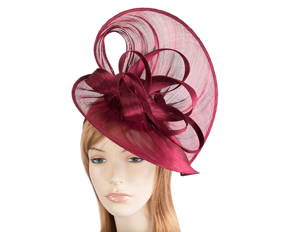 Large burgundy wine silk abaca heart fascinator
