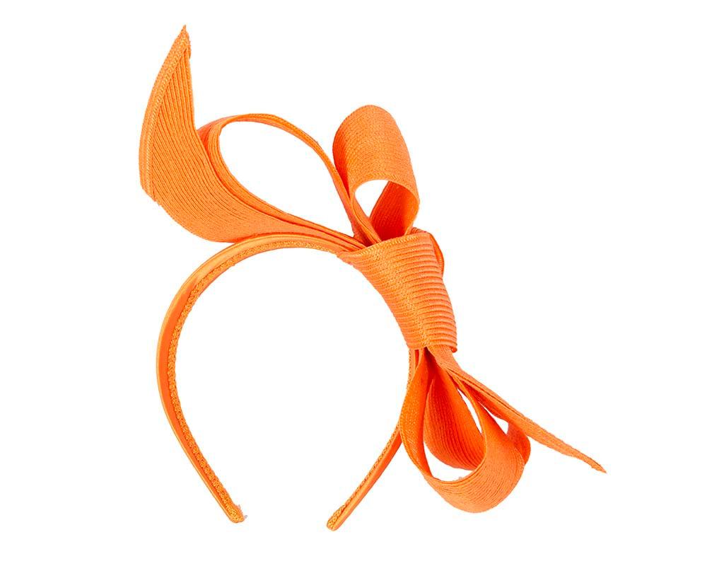 Large orange bow racing fascinator by Max Alexander
