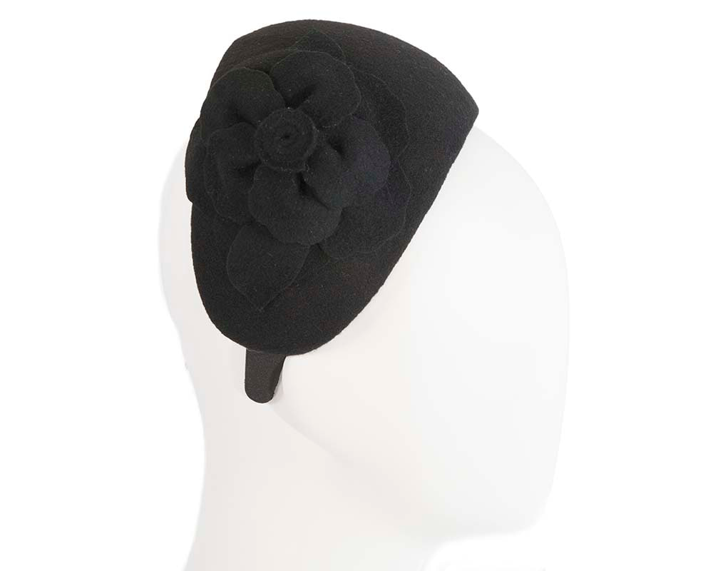 Wide black winter headband with flower by Max Alexander