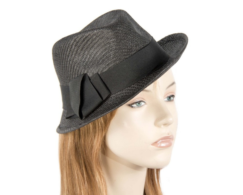 Black trilby ladies hat