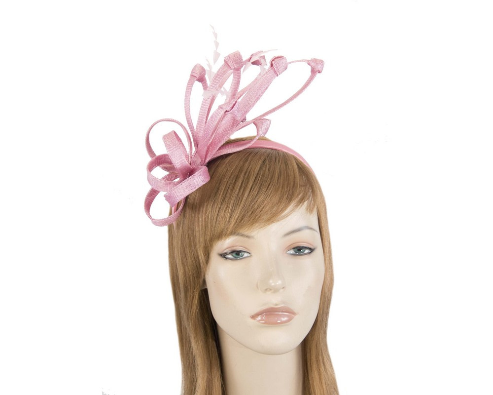 Dusty pink fireworks of sinamay and feathers fascinator