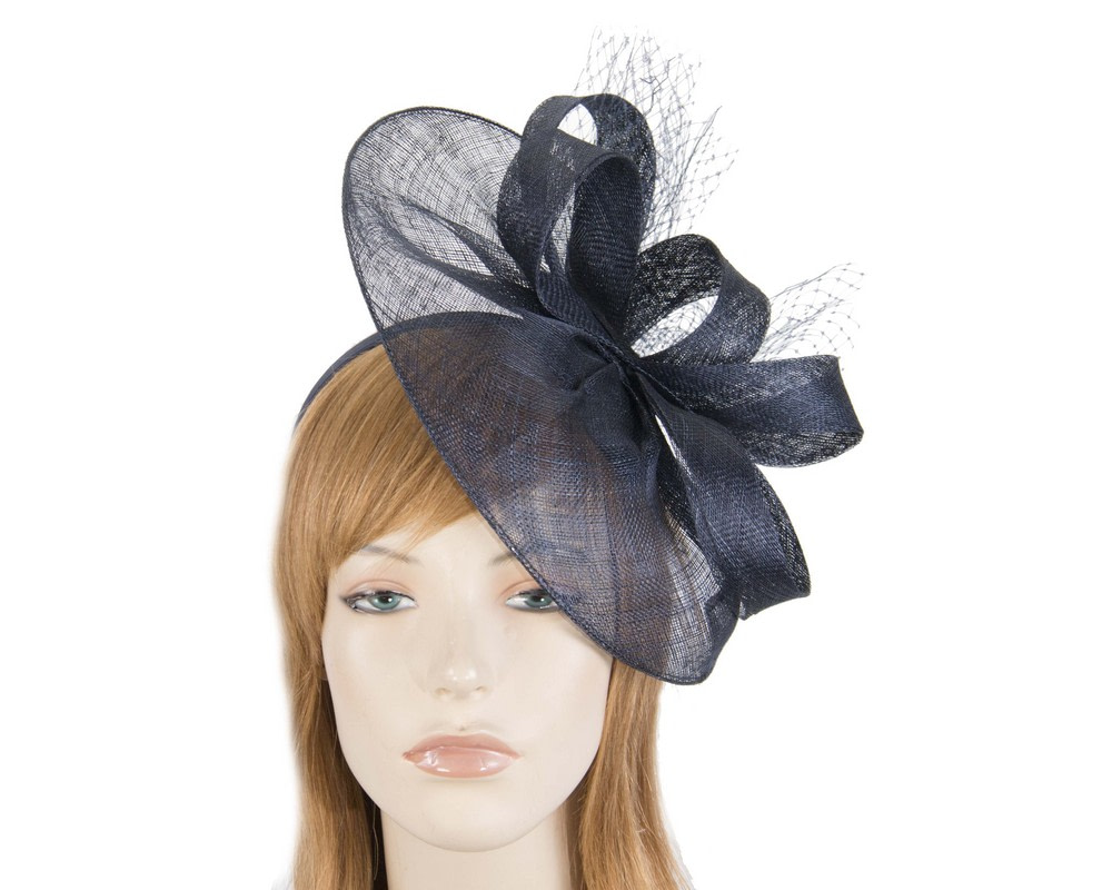 Large navy sinamay racing fascinator by Max Alexander
