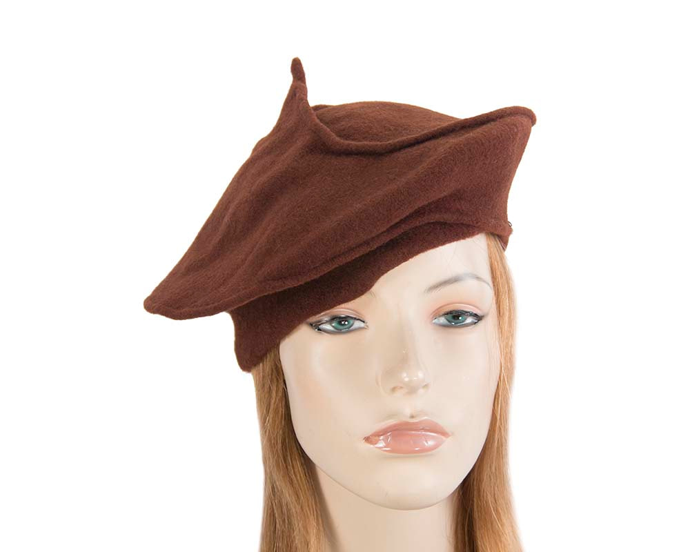 Stylish brown winter french beret by Max Alexander