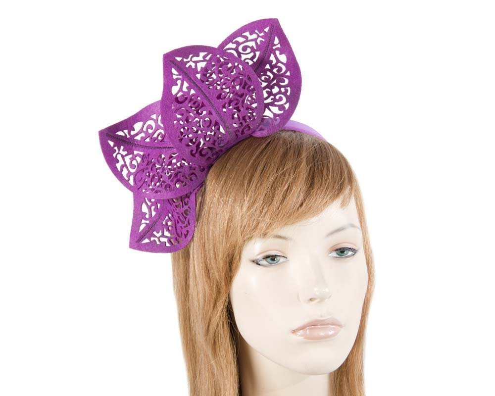 Modern purple racing fascinator by Max Alexander