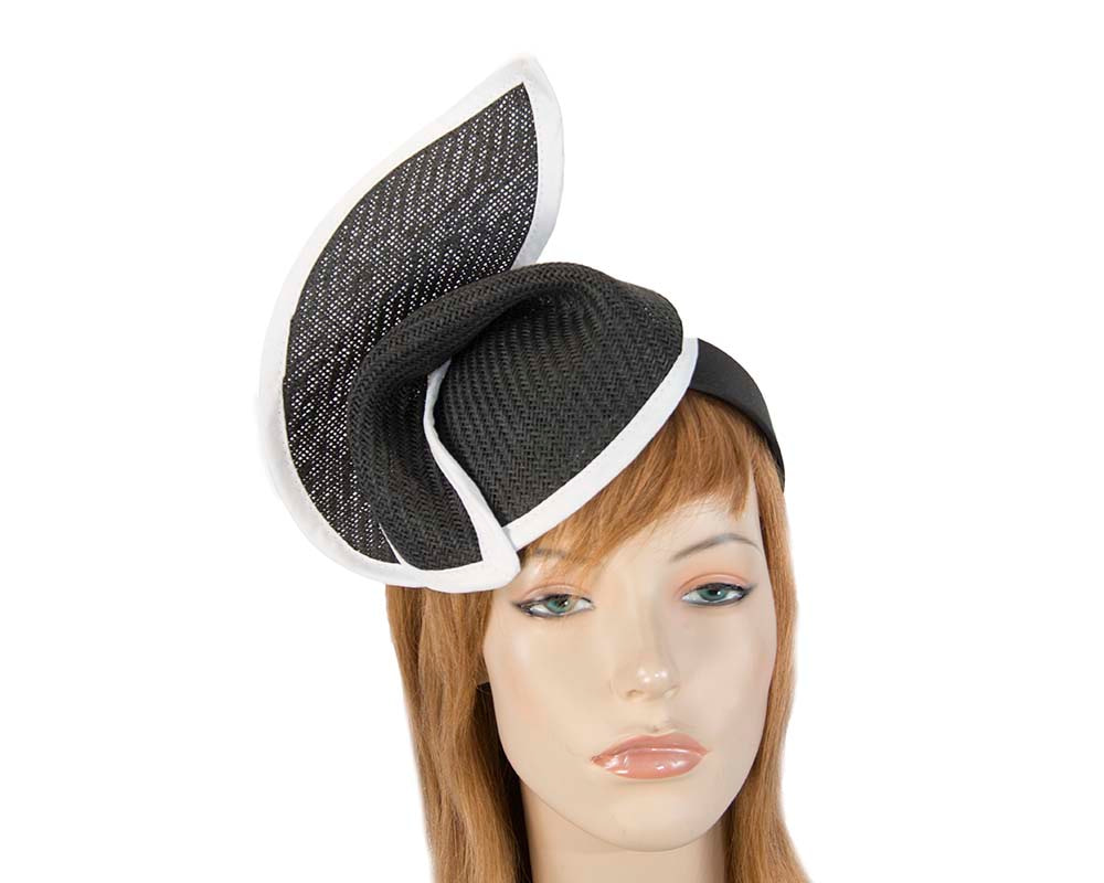 Black white fashion pillbox fascinator hat for races Max Alexander buy online in Aus MA564BW