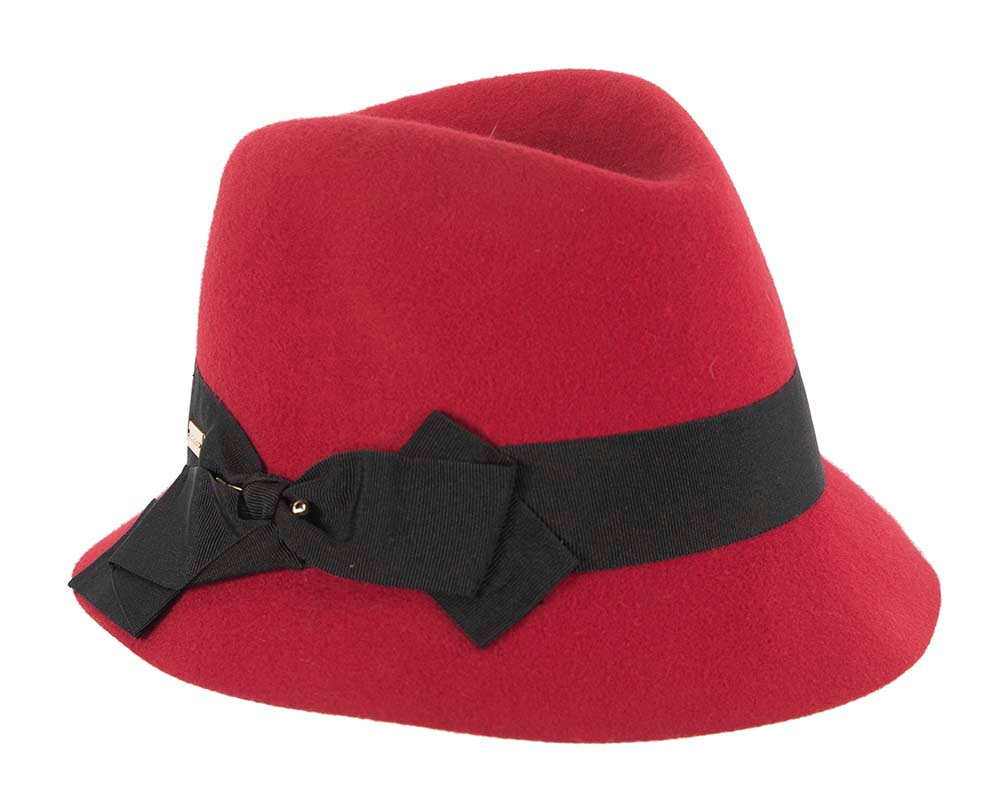 Red winter fashion trilby hat by Betmar NY