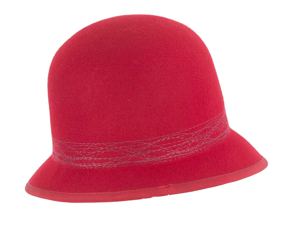 Red ladies winter bucket hat by Cupids Millinery