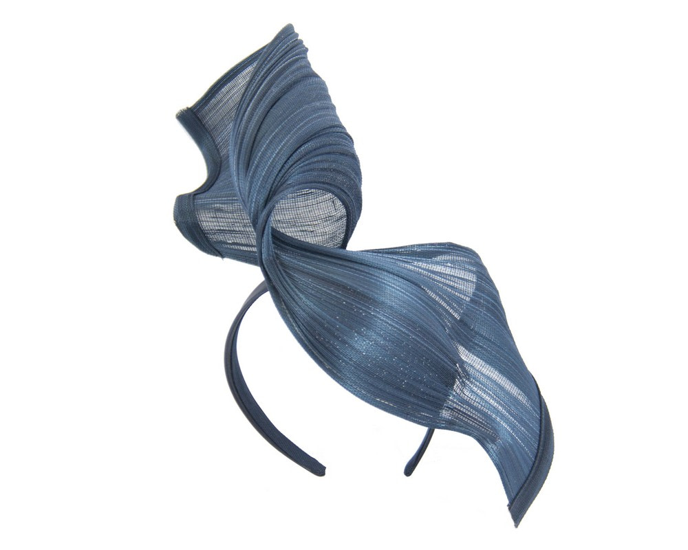 Large navy bespoke Jinsin racing fascinator by Fillies Collection