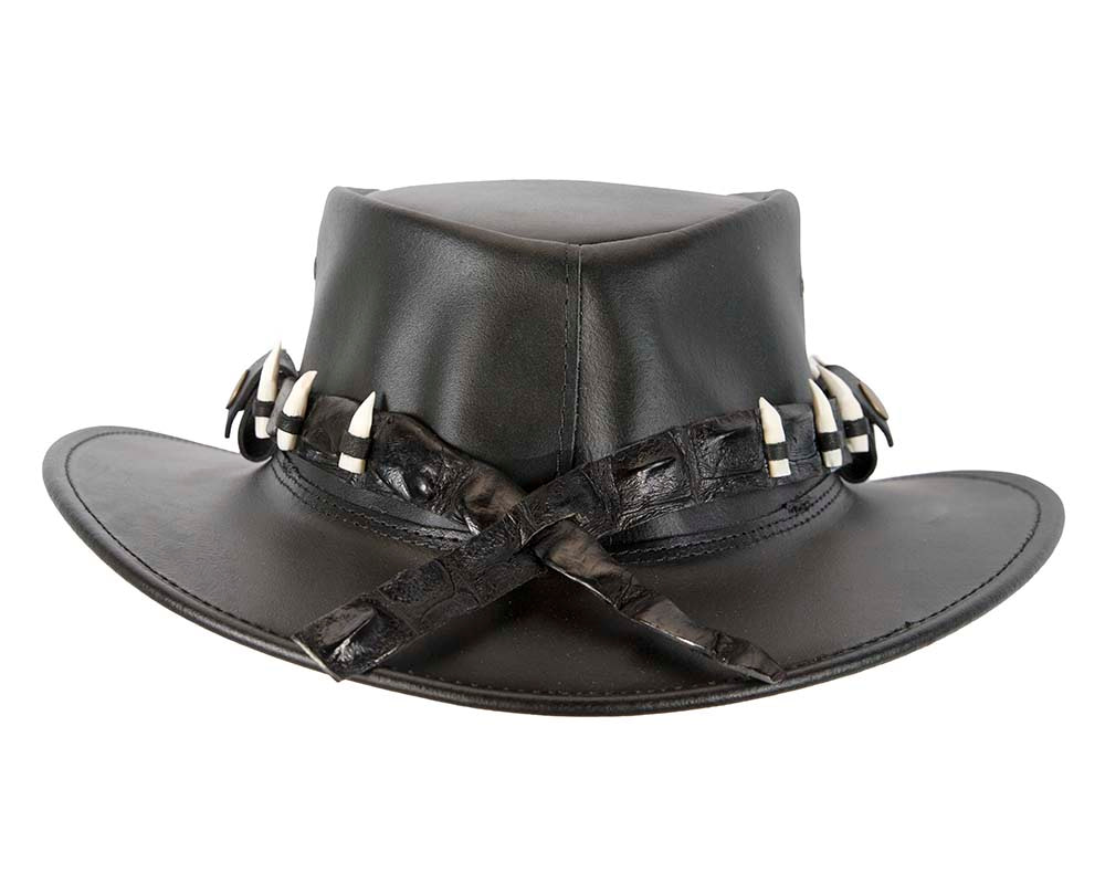 Black Australian Leather Outback Jacaru Hat with 17 Crocodile Teeth
