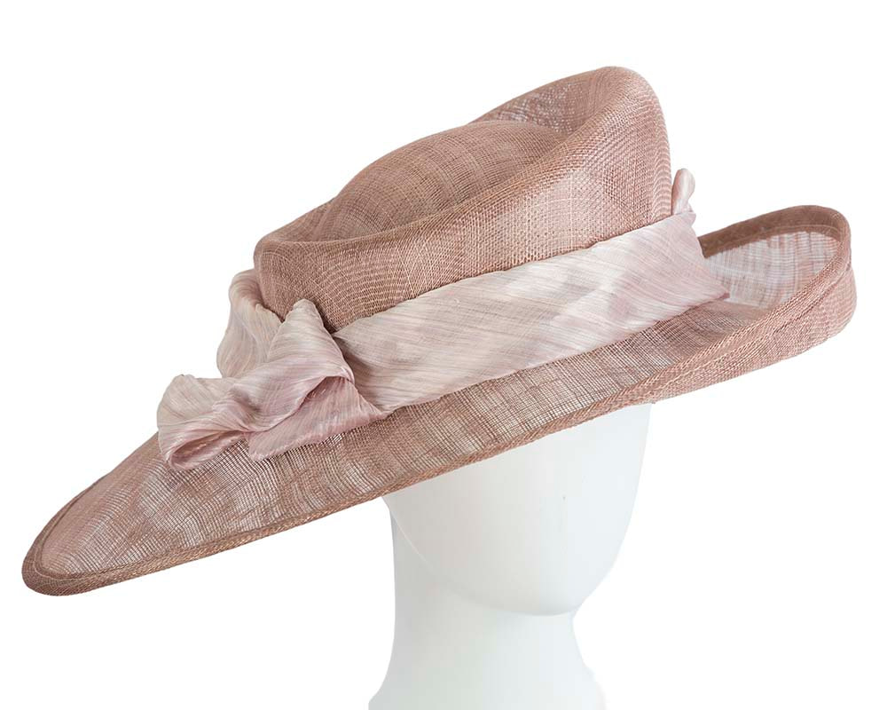 Large taupe ladies racing hat by Cupids Millinery