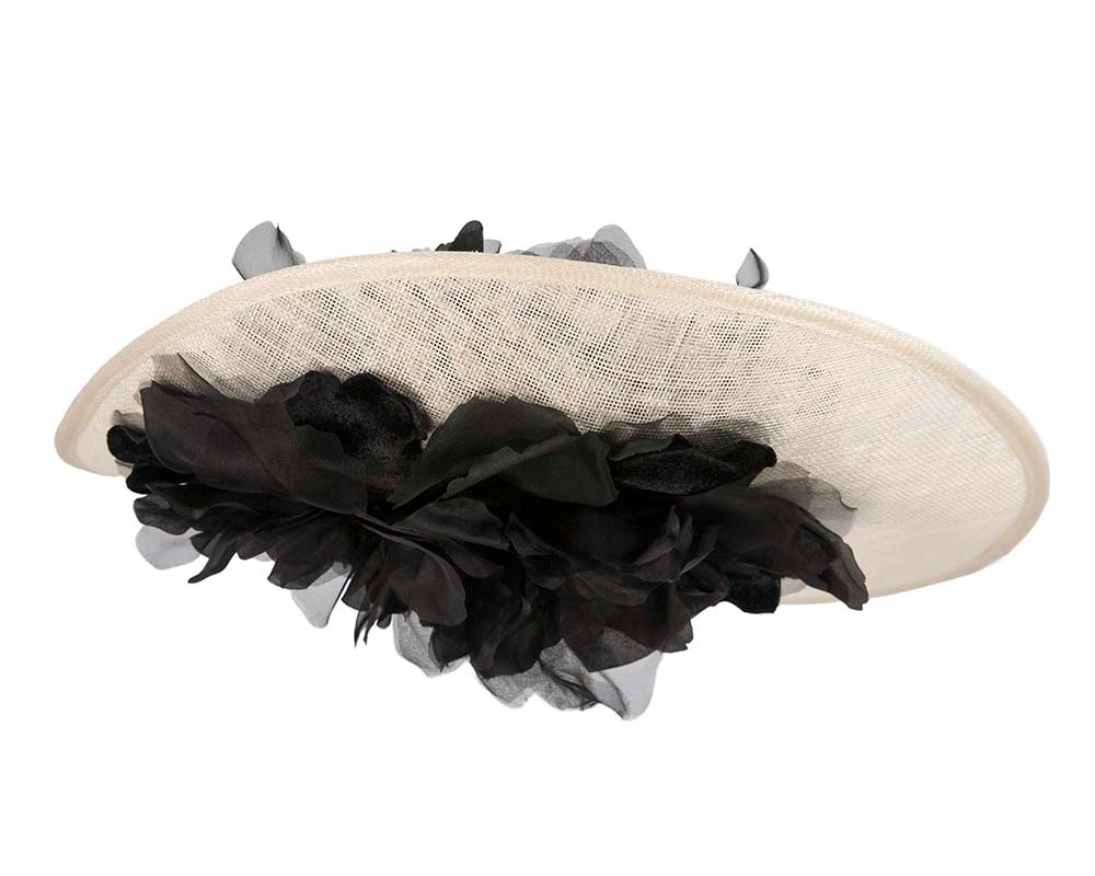 Large cream & black plate racing fascinator by Fillies Collection