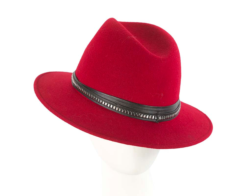 Red wide brim fashion fedora hat by Cupids Millinery