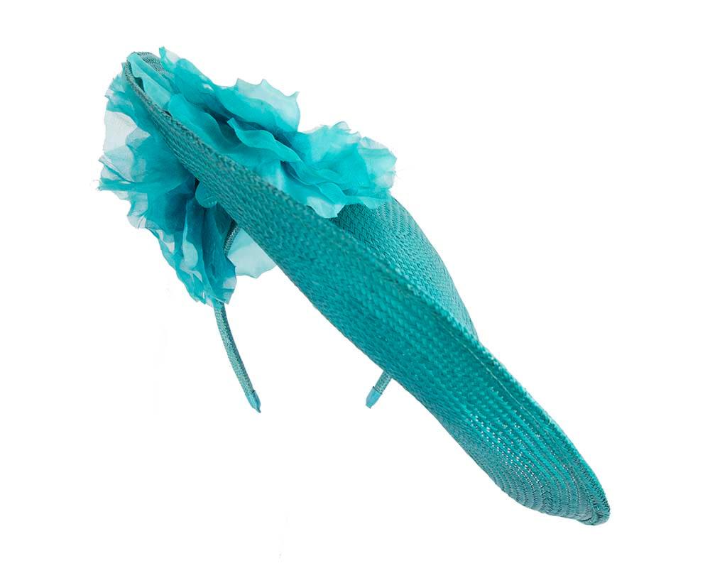Large turquoise racing fascinator hat