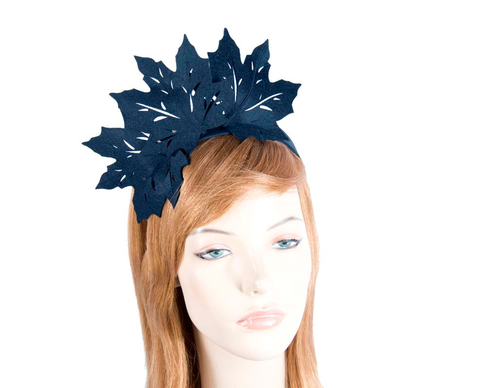 Navy laser cut maple leafs on headband