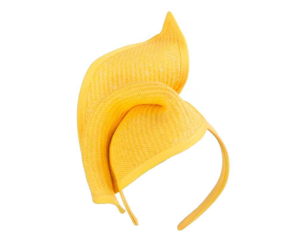 Yellow fashion pillbox fascinator hat for races
