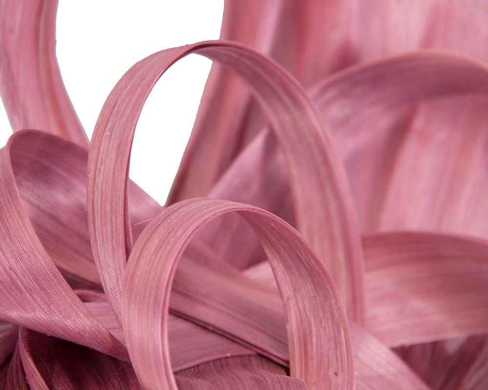 Large dusty pink silk abaca heart fascinator