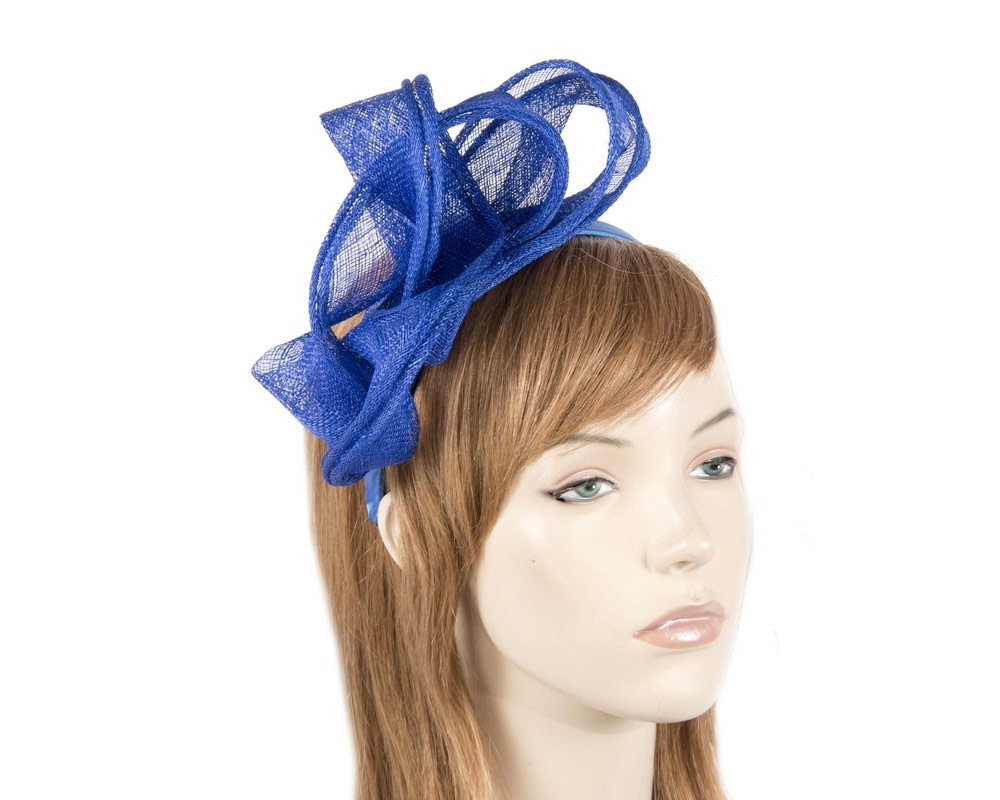 Pleated royal blue fascinator