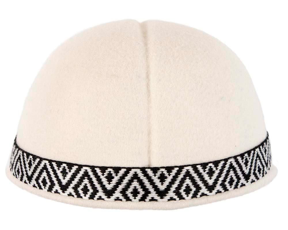 Ivory cream felt ladies fashion cap by Cupids Millinery