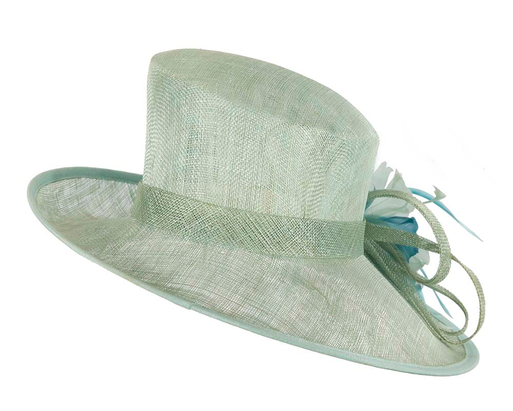 Large Light Green Ladies Fashion Racing Hat by Cupids Millinery