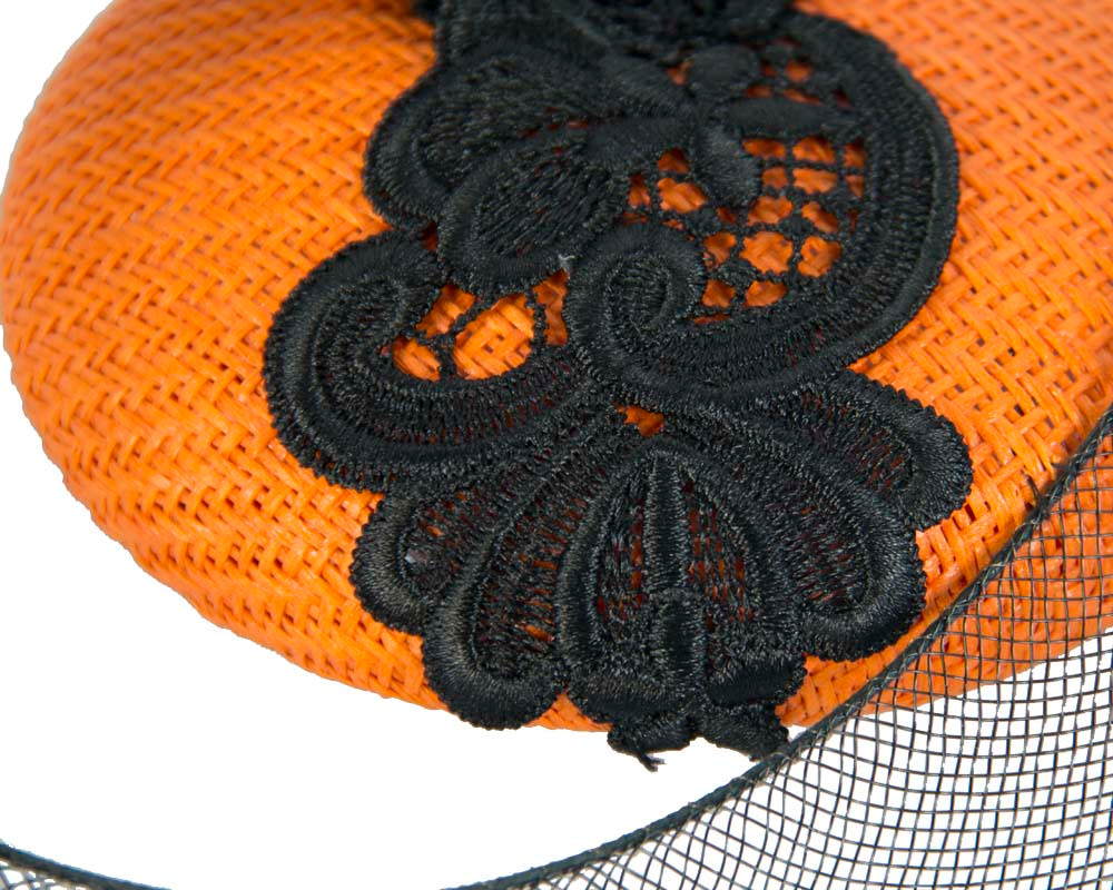 Bright orange racing pillbox with black lace for Melbourne Cup S160O