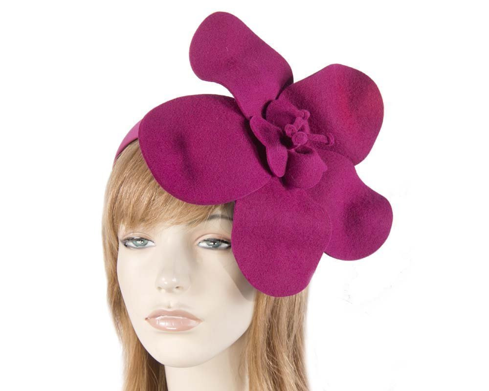 Unusual fuchsia felt Max Alexander fascinator for races buy online in Australia J295F