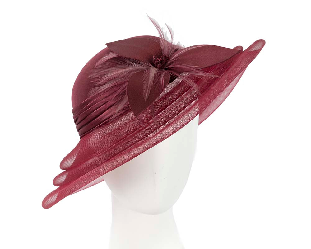 Burgundy wine custom made mother of the bride hat