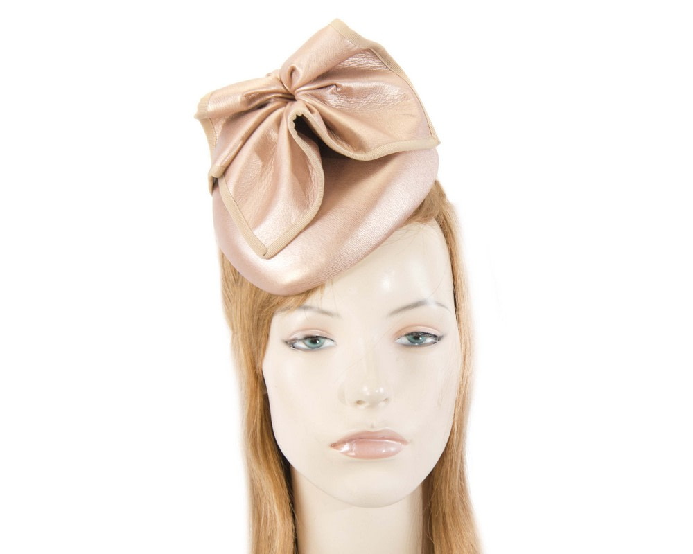 Rose Gold leather racing pillbox fascinator