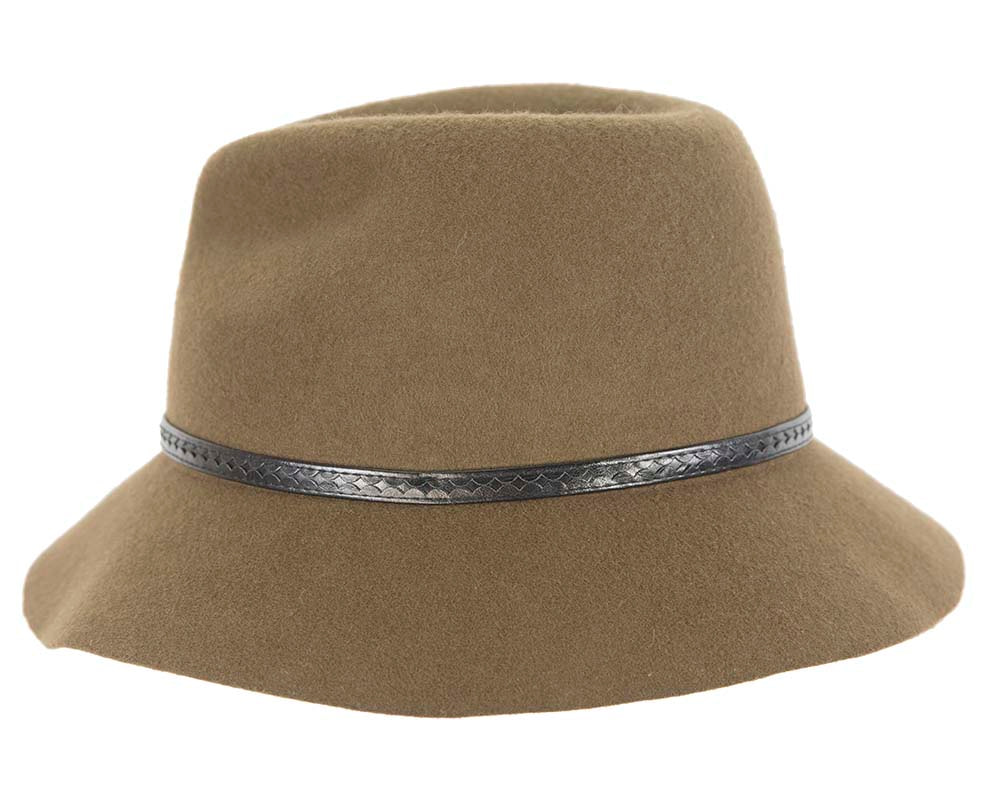 Wide brim olive fedora hat by Cupids Millinery Melbourne