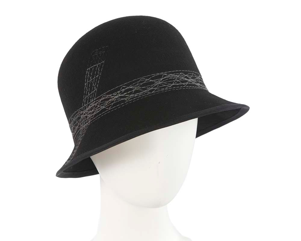 Black ladies winter bucket hat by Cupids Millinery