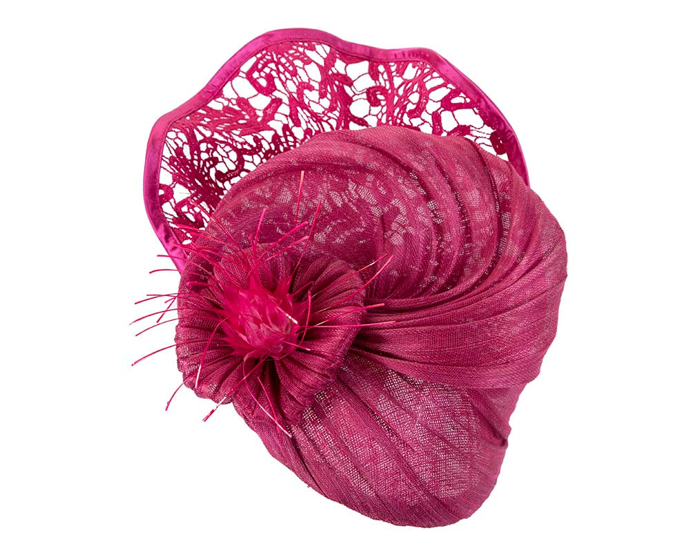 Large fuchsia racing fascinator with lace