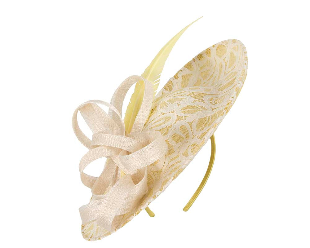Yellow & cream fascinator by Cupids Millinery
