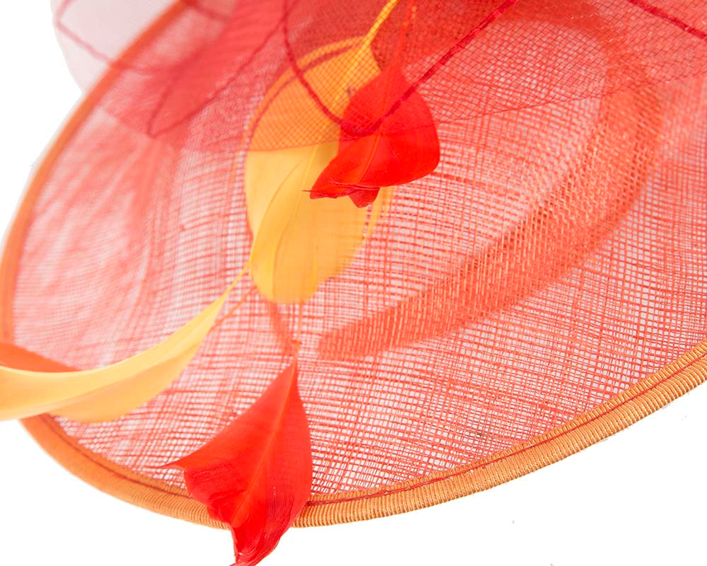 Large orange fascinator by Cupids Millinery