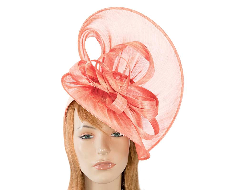 Large coral silk abaca heart fascinator