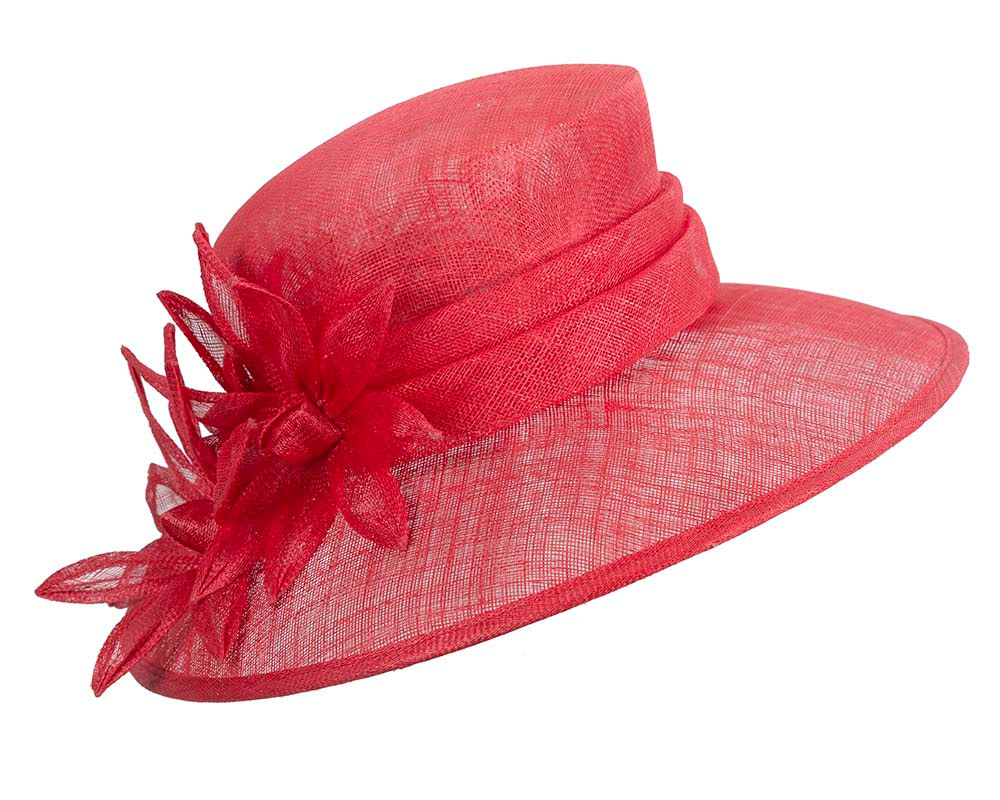 Large red spring racing hat by Max Alexander