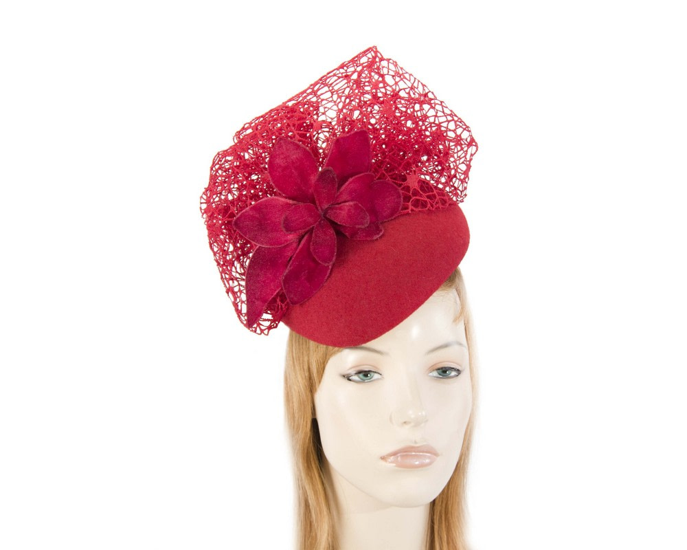 Red winter beret fascinator