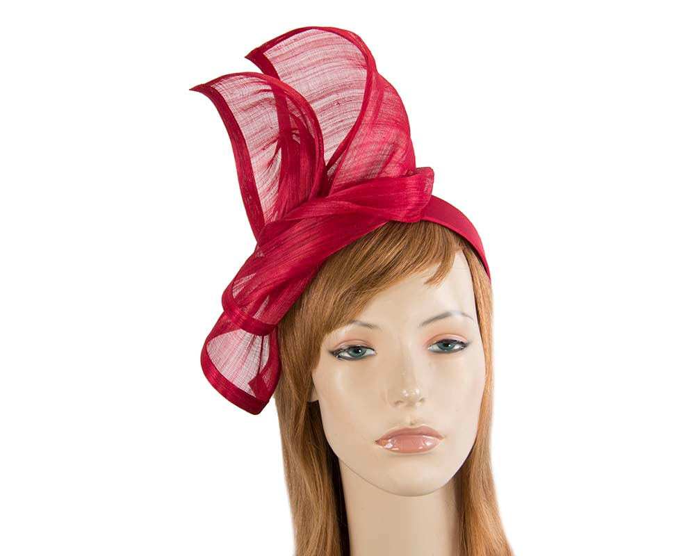 Bespoke red silk abaca racing fascinator by Fillies Collection
