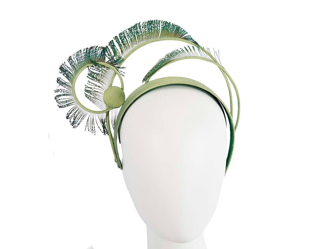 Exclusive peacock feather crown fascinator