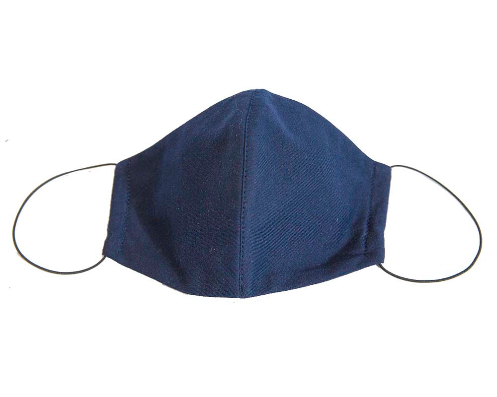 Comfortable re-usable navy cotton jersey face mask