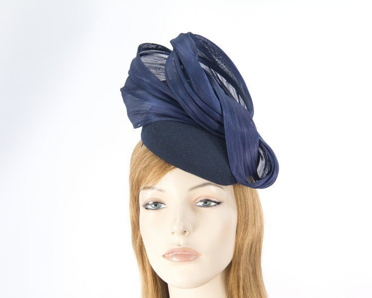 Navy autumn winter racing pillbox with silk bow