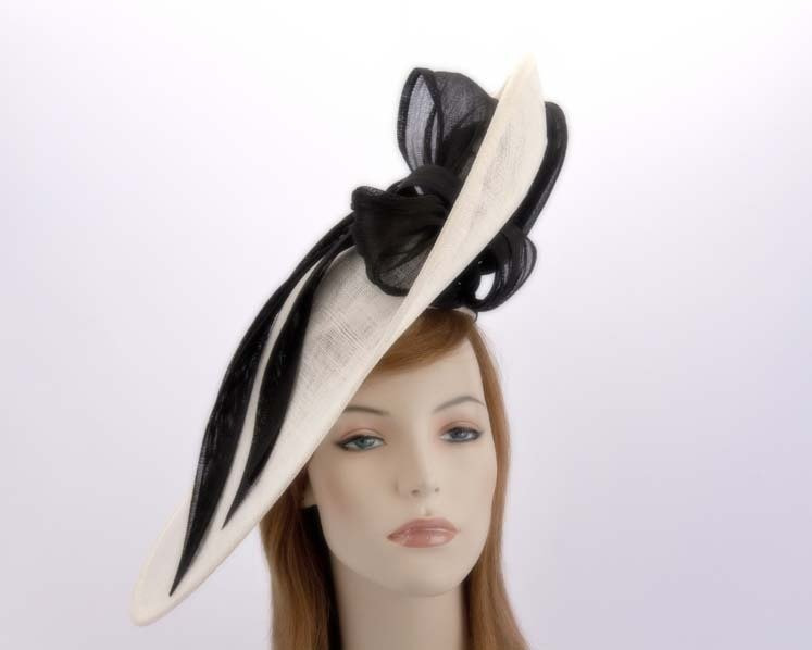 Large cream and black fascinator hat for Melbourne Cup Ascot races buy online in Aus S131CB