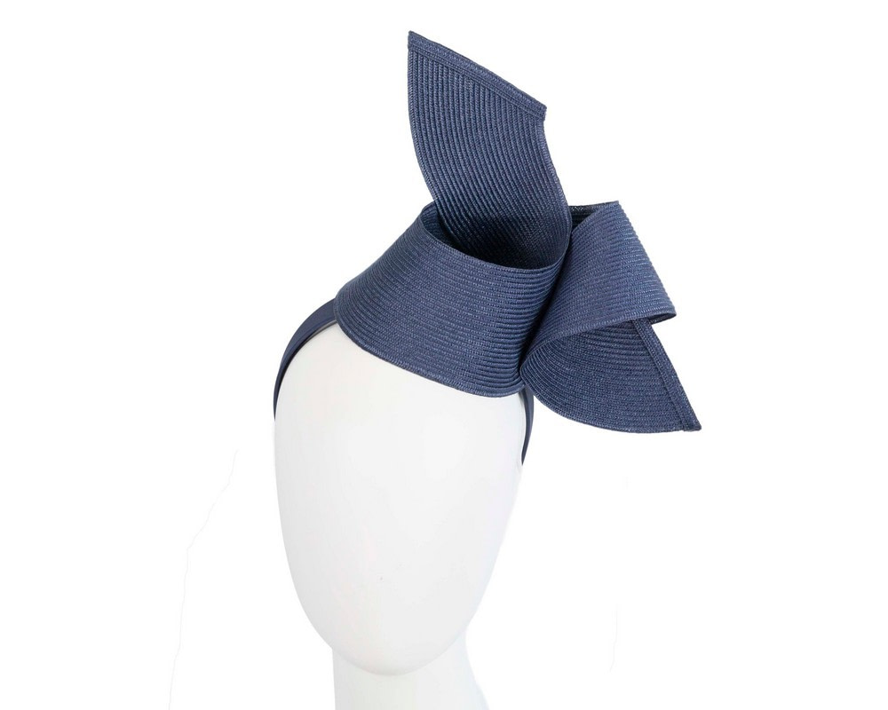 Modern navy fascinator by Max Alexander