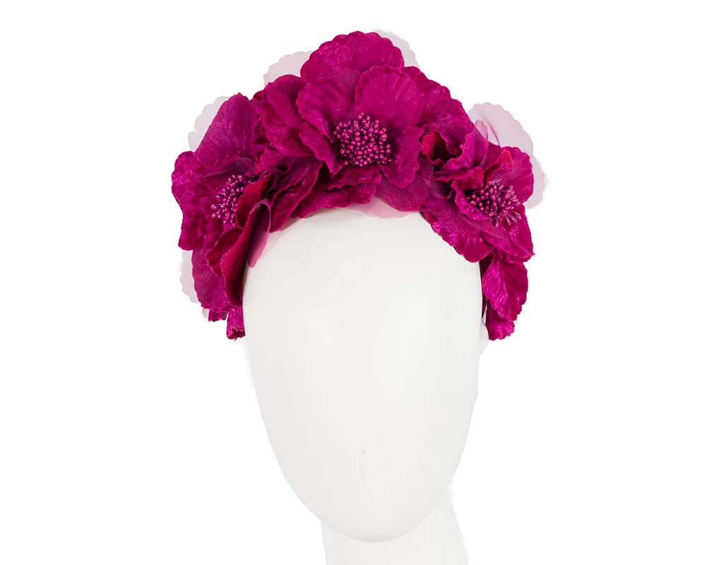 Fuchsia flower halo fascinator