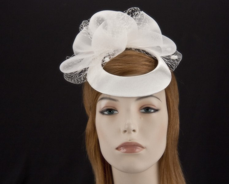 Custom Made cream cocktail hat for wedding and special occasions