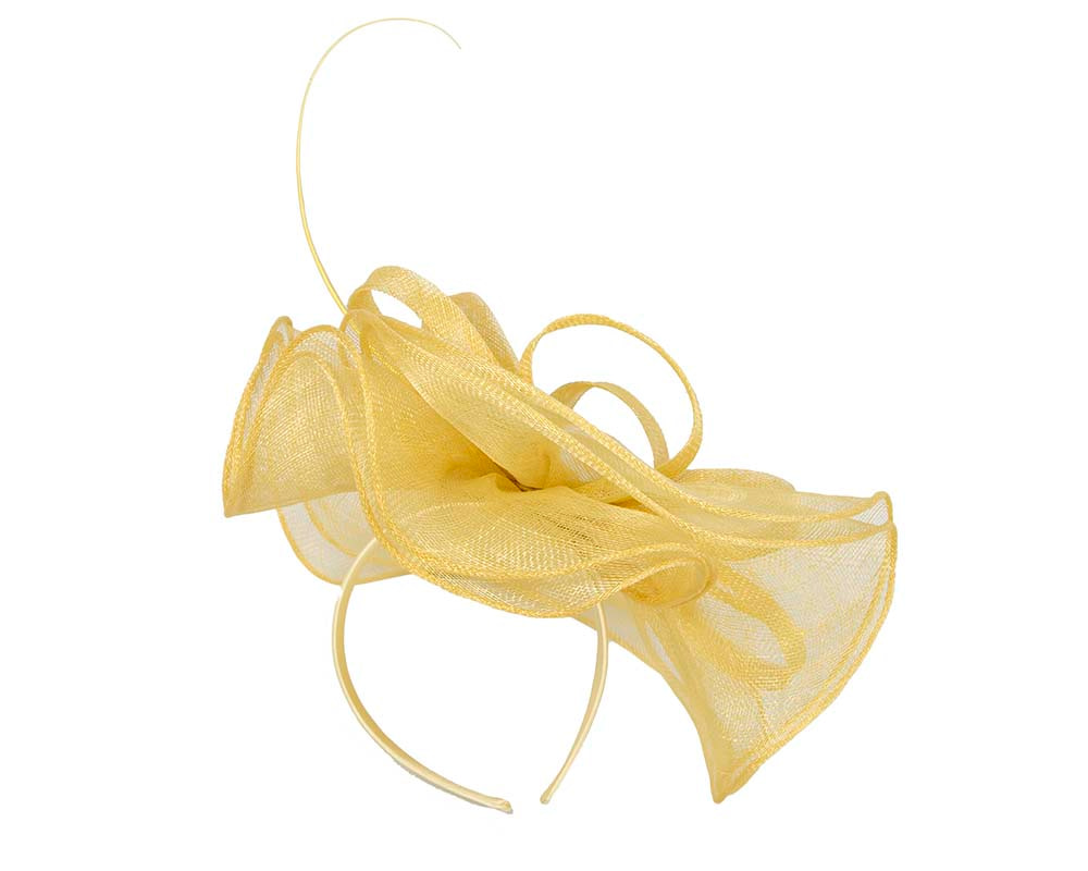 Large yellow racing fascinator by Cupids Millinery