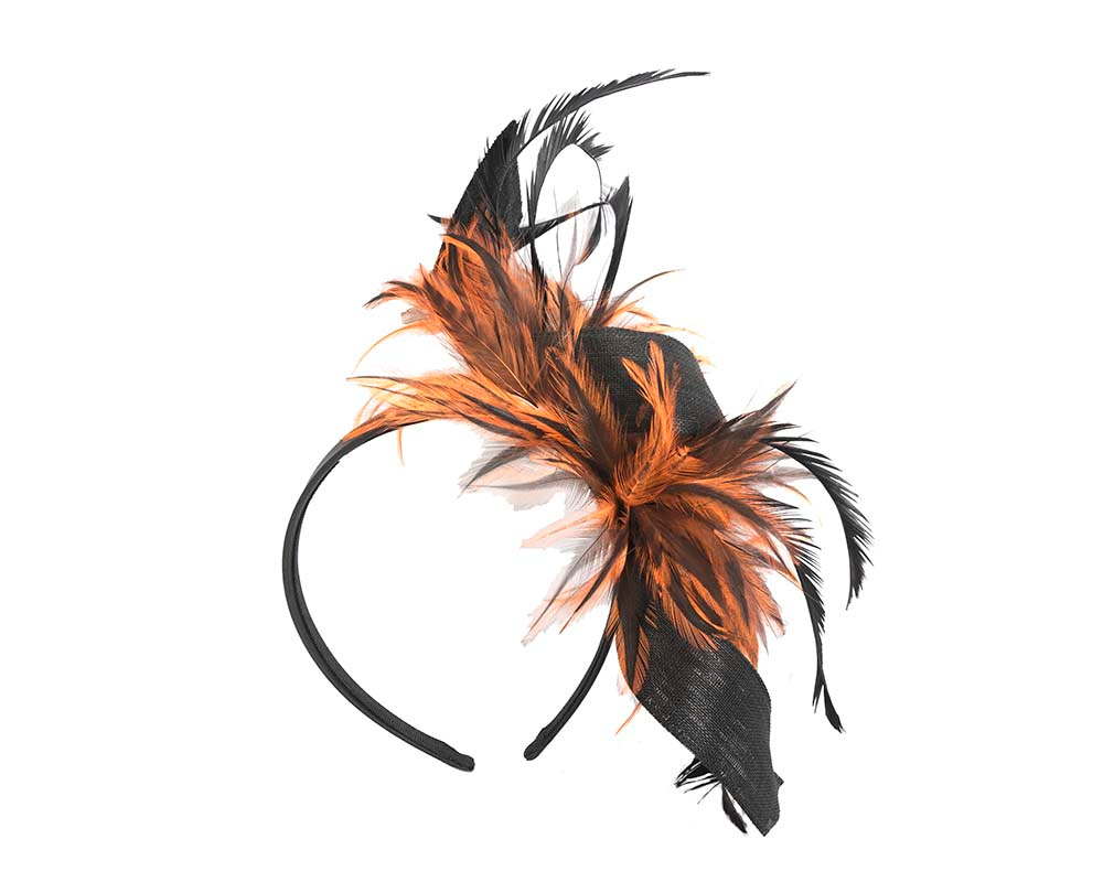 Eclusive black & orange feather fascinator by Cupids Millinery