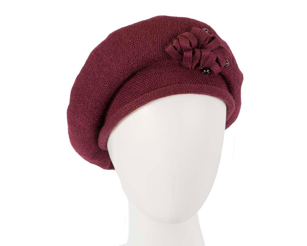 Woolen woven plum beret by Max Alexander