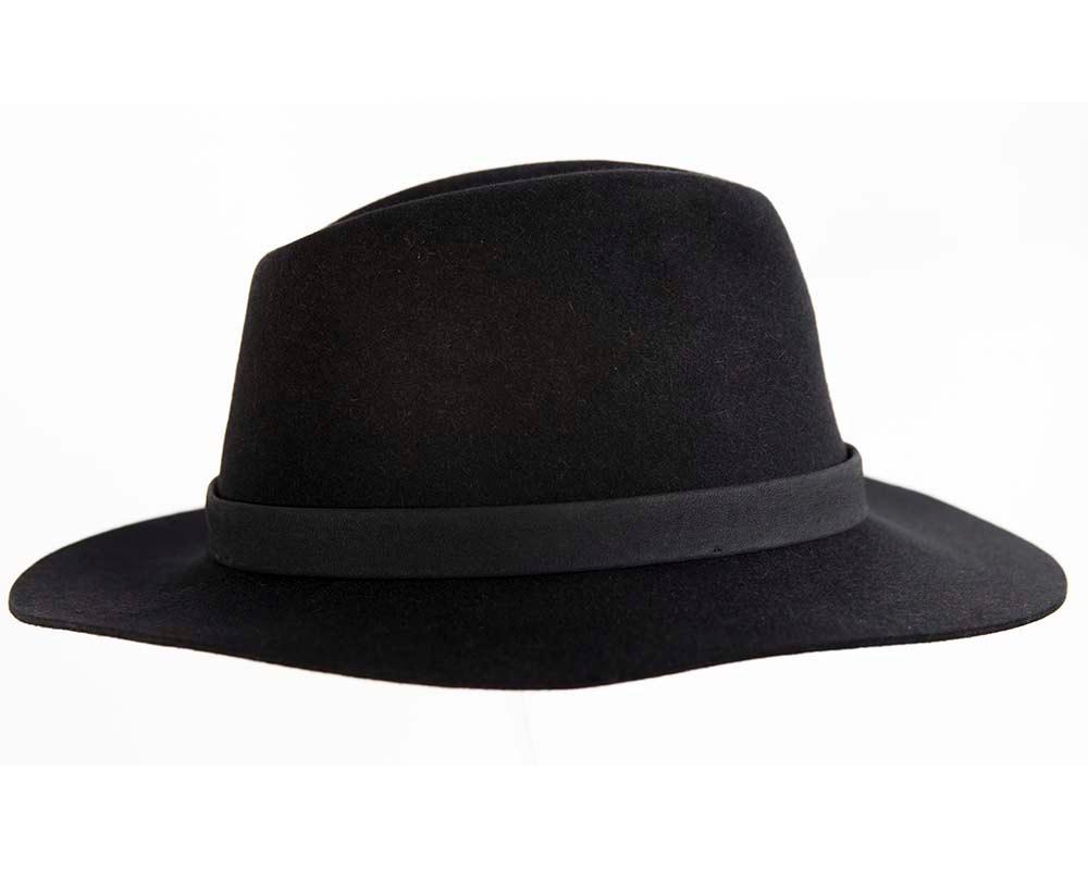 Black rabbit fur wide brim fedora hat with leather band
