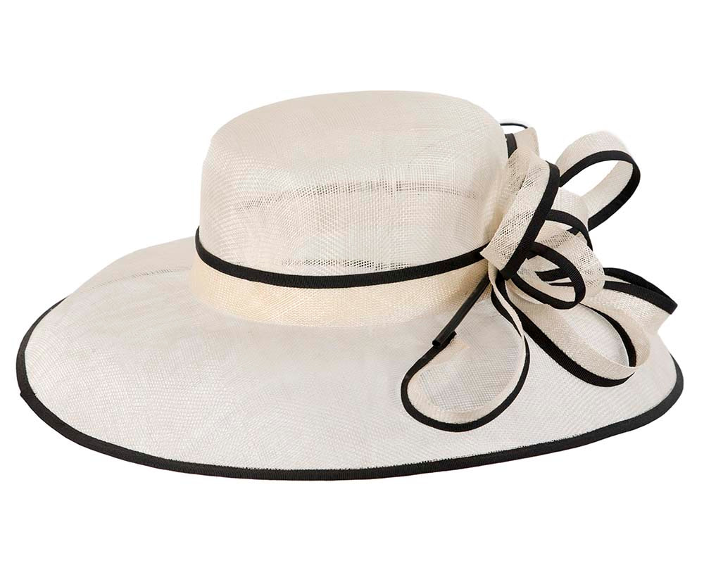 Large Cream & Black Ladies Fashion Racing Hat by Cupids Millinery