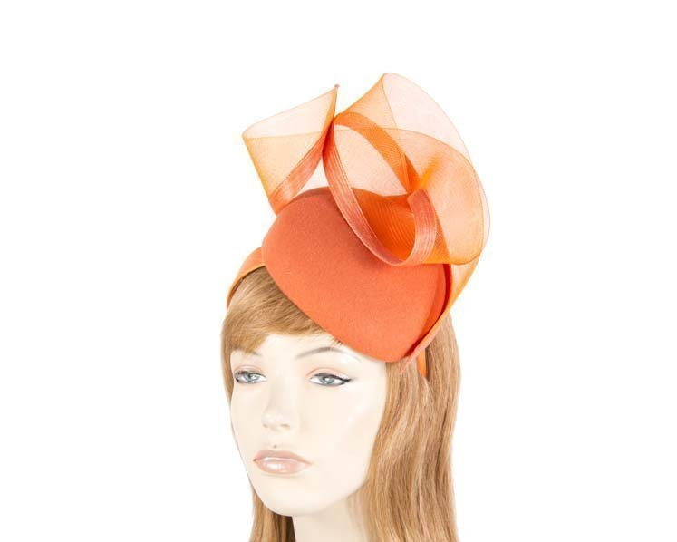 Orange pillbox winter racing fascinator