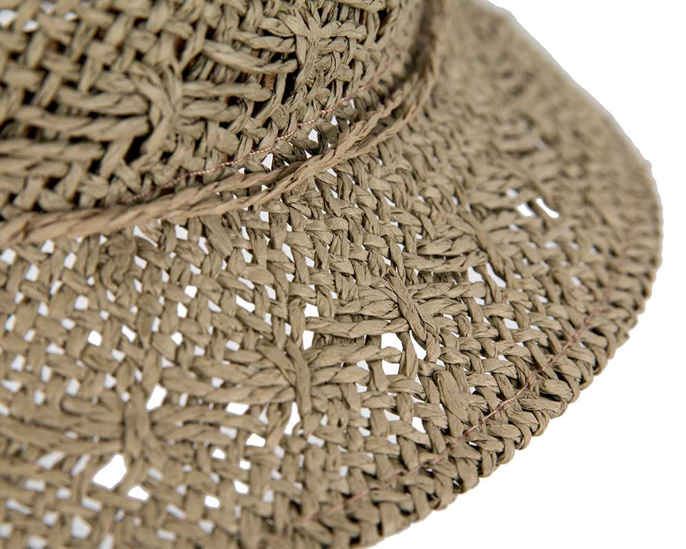 Crocheted olive cloche hat